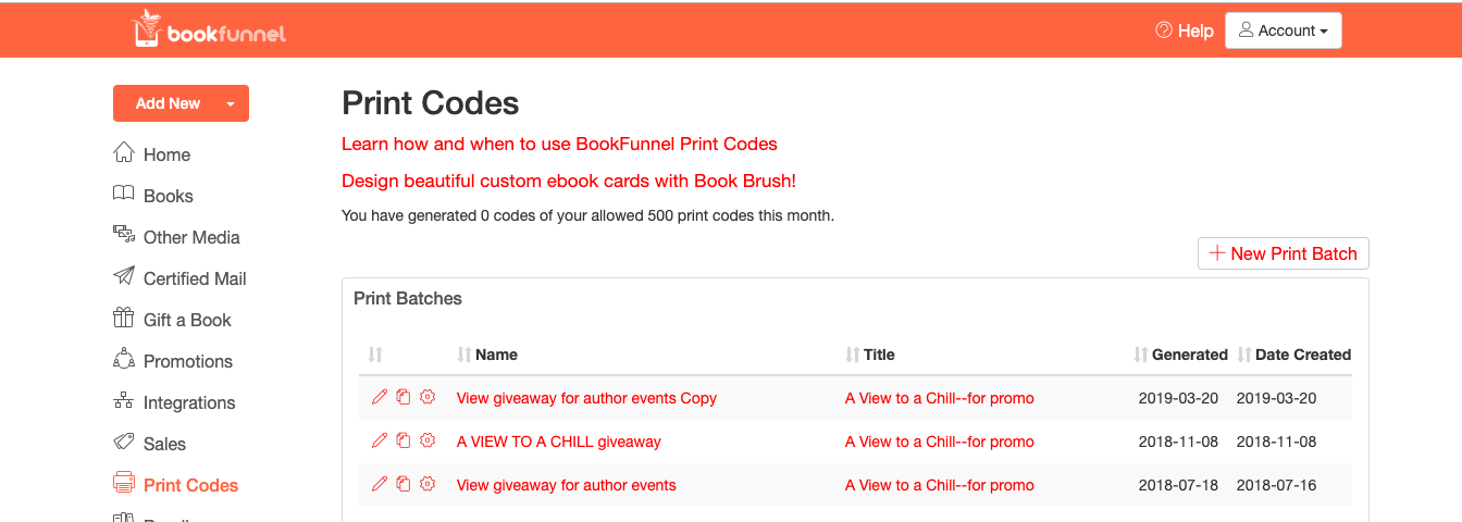 Bookfunnel page for print codes
