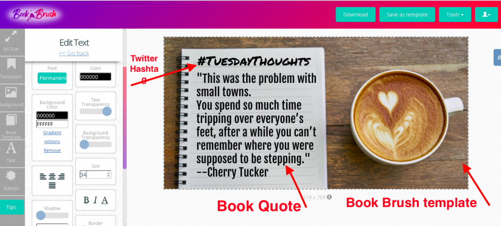 Use quotes in Twitter images