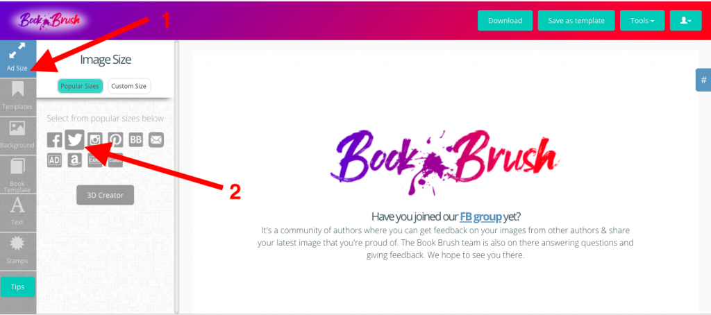 Twitter Book Brush Ad size