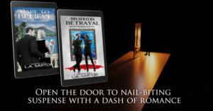 An image of an open door and L.A. Sartor's Mystery series books in a meme